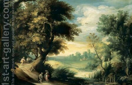 Forest Landscape With Travellers Near A Stream by (after) Gijsbrecht Leytens - Reproduction Oil Painting