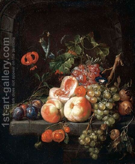 A Still Life Of Peaches, Plums, Grapes And Other Fruits On A Stone Ledge. by Cornelis De Heem - Reproduction Oil Painting