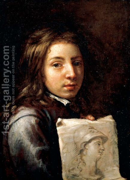 Portrait Of A Young Artist, Head And Shoulders, Holding A Drawing Possibly Of Minerva by (after) Michiel Sweerts - Reproduction Oil Painting