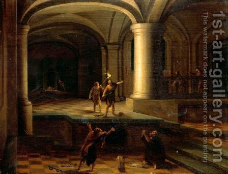 Interior Of A Church Crypt With Figures By Torchlight by Hendrick Van Steenwijk II - Reproduction Oil Painting