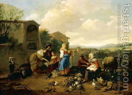 A Market Scene In An Italianate Landscape by Hendrik Mommers - Reproduction Oil Painting