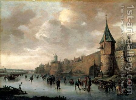 A Winter Landscape With Figures Skating, Playing Kolf And Conversing On A Frozen River Outside The Walls Of A Fortified Town. by (after) Jan Steen - Reproduction Oil Painting