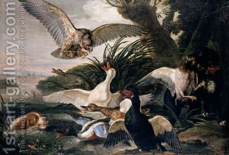Waterfowl Assailed By Dogs And A Buzzard, In A River Landscape Setting by David de Coninck - Reproduction Oil Painting