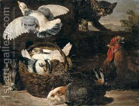 A Still Life Of Pigeons, Rabbits, A Cat, A Chicken And A Guinea Pig In A Farmyard Setting by David de Coninck - Reproduction Oil Painting