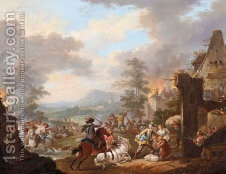 A Battle Scene With A Village Being Sacked by (after) Jan Peeter Verdussen - Reproduction Oil Painting