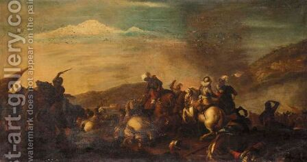 A Battle Scene With Cavalry Skirmishing by (after) Antonio Calza - Reproduction Oil Painting