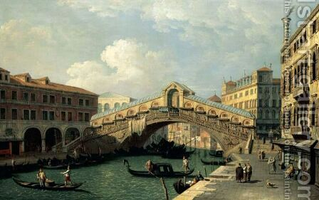 Venice, A View Of The Rialto Bridge by (after) (Giovanni Antonio Canal) Canaletto - Reproduction Oil Painting