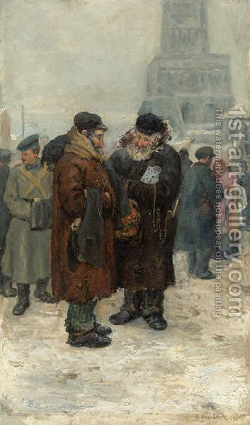At The Flea Market by Arnold Borisovich Lakhovsky - Reproduction Oil Painting
