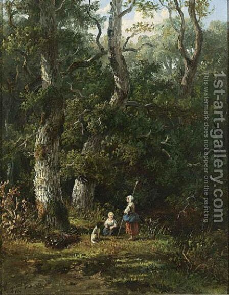 Wood Gatherers Resting by Anthonie Jacobus Van Wijngaerdt - Reproduction Oil Painting