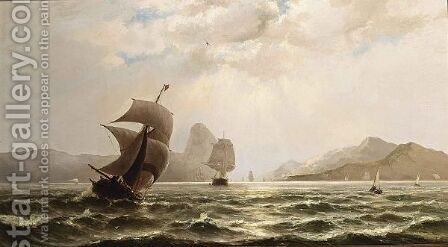 Shipping Off The Coast 2 by Jacob Eduard Van Heemskerck Van Beest - Reproduction Oil Painting