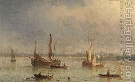 Fishingboats In A Bay by Herminie Gudin - Reproduction Oil Painting