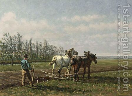 A Ploughing Farmer by Cornelis Albertus Johannes Schermer - Reproduction Oil Painting