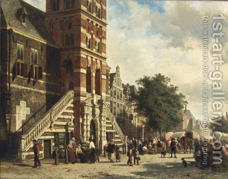 A View Of The Wijnhuistoren, Zutphen by Cornelis Springer - Reproduction Oil Painting
