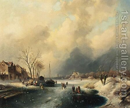 Figures On The Ice By A Dutch Town 2 by Charles Henri Leickert - Reproduction Oil Painting