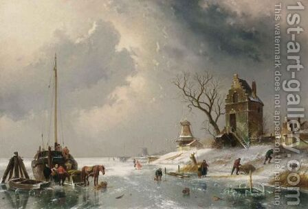 Figures Loading A Horse-Drawn Cart On The Ice by Charles Henri Leickert - Reproduction Oil Painting