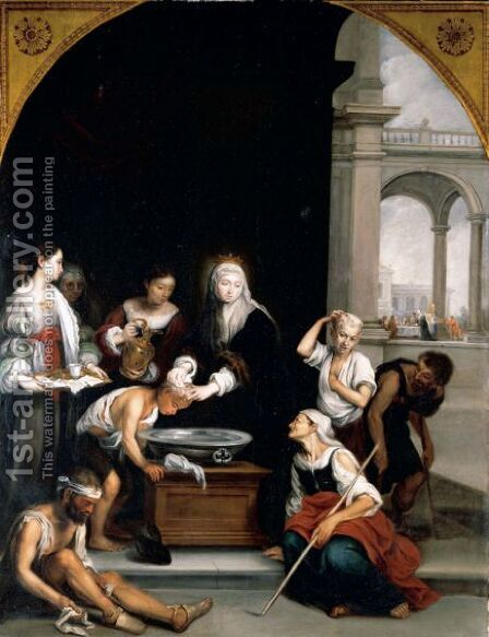 Saint Elizabeth Curing The Sick by (after) Murillo, Bartolome Esteban - Reproduction Oil Painting