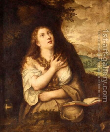 The Penitent Magdalene by (after) Tiziano Vecellio (Titian) - Reproduction Oil Painting
