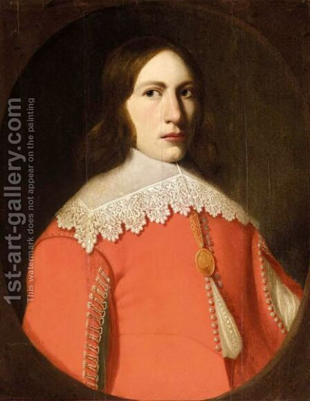 Portrait Of A Young Man, Half Length, Wearing A Red Doublet And A White Ruff by (after) Anthonie Palamedesz. (Stevaerts, Stevens) - Reproduction Oil Painting