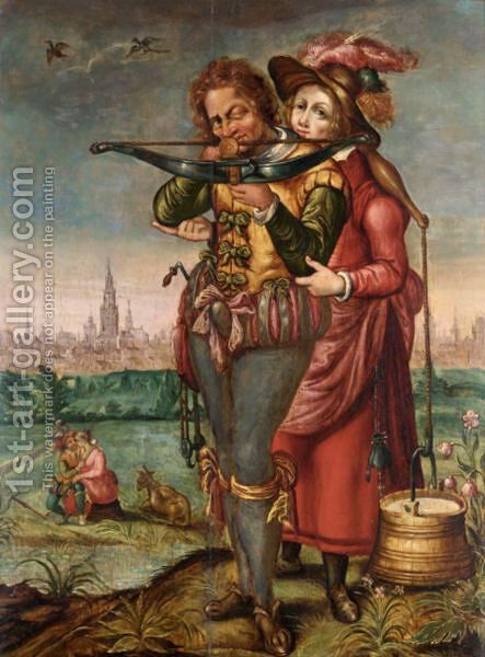 A Crossbowman And A Maid In A Landscape Before A Town by (after) Hendrick Goltzius - Reproduction Oil Painting