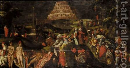 The Tower Of Babel by (after) Cornelis Cornelisz Van Haarlem - Reproduction Oil Painting