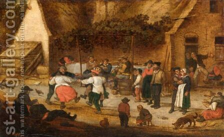 Peasants Dancing Outside An Inn by Dutch School - Reproduction Oil Painting