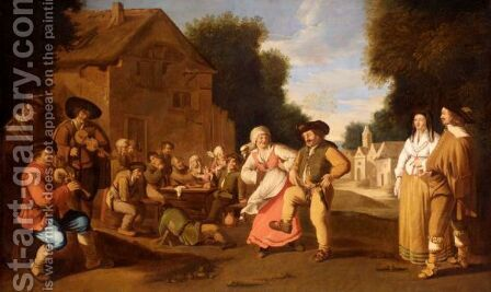 A Village Scene With Boors Dancing by (after) Pieter De Bloot - Reproduction Oil Painting