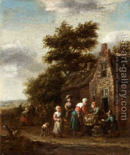 A Landscape With Peasants Selling Chickens Outside A Cottage by Barend Gael or Gaal - Reproduction Oil Painting