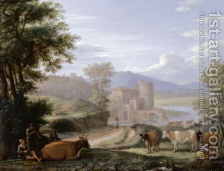 An Extensive Landscape With A Fortified City Gate By A River And Peasants With A Cattle By A Path In The Foreground by (after) Herman Van Swanevelt - Reproduction Oil Painting
