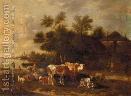 A River Landscape With Cattle And Sheep Before Farm Buildings by Albert-Jansz. Klomp - Reproduction Oil Painting