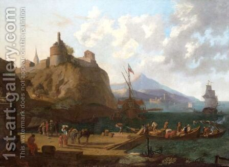 A Mediterranean Harbour Scene With Numerous Figures On A Quay Beneath A Fort by (after) Adriaen Van Der Cabel - Reproduction Oil Painting