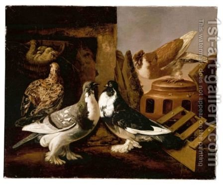 Still Life Of Two Courting Doves, A Partridge And Her Chicks, And A Further Dove Beyond Perched On A Jar by Jacomo (or Victor, Jacobus) Victors - Reproduction Oil Painting