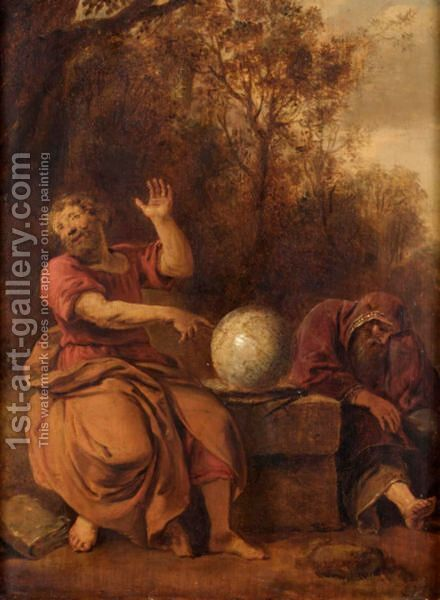 Democritus And Heraclitus by Dutch School - Reproduction Oil Painting