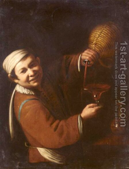A Young Boy Serving Wine by (after) Jusepe De Ribera - Reproduction Oil Painting