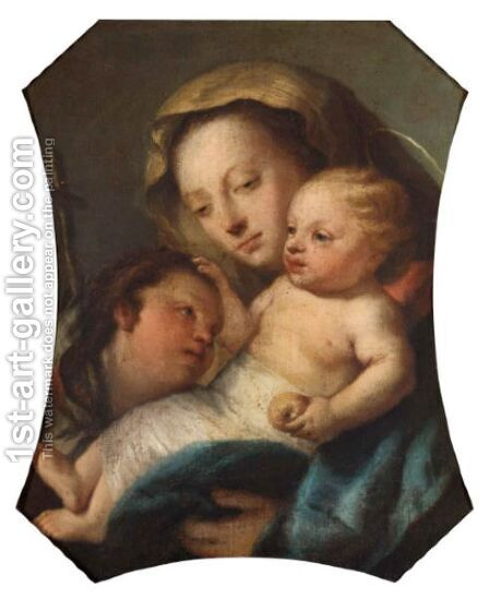 Madonna And Child With St. John The Baptist by (after) Giovanni Domenico Tiepolo - Reproduction Oil Painting