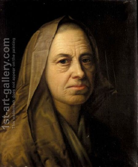 A Portrait Of An Elderly Lady, Head And Shoulders, Wearing A Headscarf by Balthasar Denner - Reproduction Oil Painting
