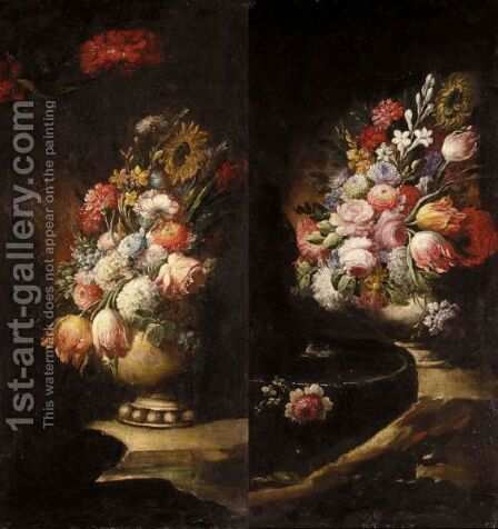 Still Lifes Of Various Flowers In Vases Resting On Flat Stones by (after) Gasparo Lopez - Reproduction Oil Painting