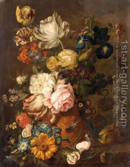 A Still Life With Roses, Irises, Tulips, Primroses, And Various Other Flowers In A Terracotta Urn On A Stone Ledge by (after) Huysum, Jan van - Reproduction Oil Painting