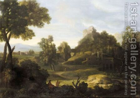 A Classical Landscape With Arcadian Figures by (after) Gaspard Dughet - Reproduction Oil Painting