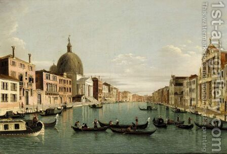Venice, A View Of The Grand Canal Looking South West From The Chiesa Degli Scalzi To The Fondamenta Della Croce, With San Simeone Piccolo by (after) (Giovanni Antonio Canal) Canaletto - Reproduction Oil Painting