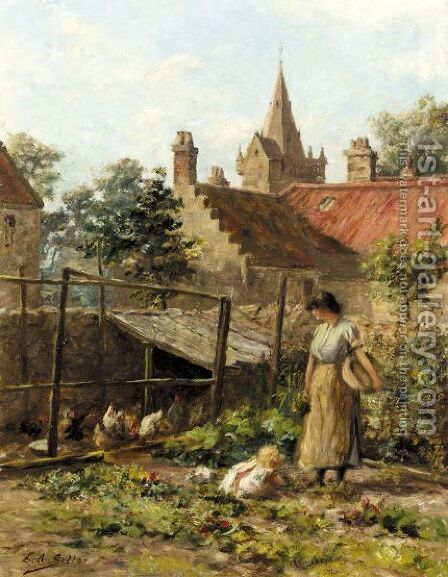 The Kitchen Garden by Charles A. Sellar - Reproduction Oil Painting