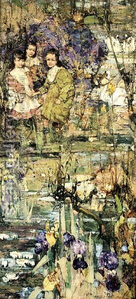 Galloway Maidens by Edward Atkinson Hornel - Reproduction Oil Painting