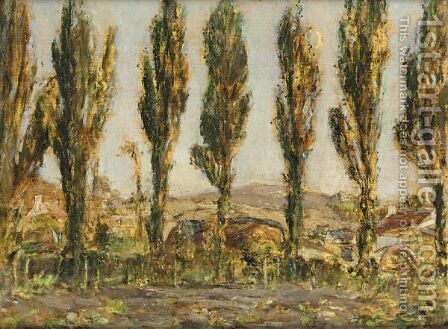 Poplars In Jersey by Alexander Ignatius Roche - Reproduction Oil Painting