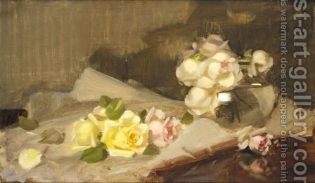Yellow, Pink And White Roses by James Stuart Park - Reproduction Oil Painting