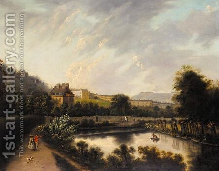 A View Of Royal Crescent, Bath, A Couple Walking In The Foreground by (after) Edmund Garvey - Reproduction Oil Painting