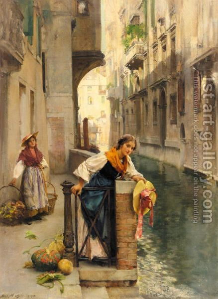Fruit Sellers From The Islands, Venice by Henry Woods - Reproduction Oil Painting