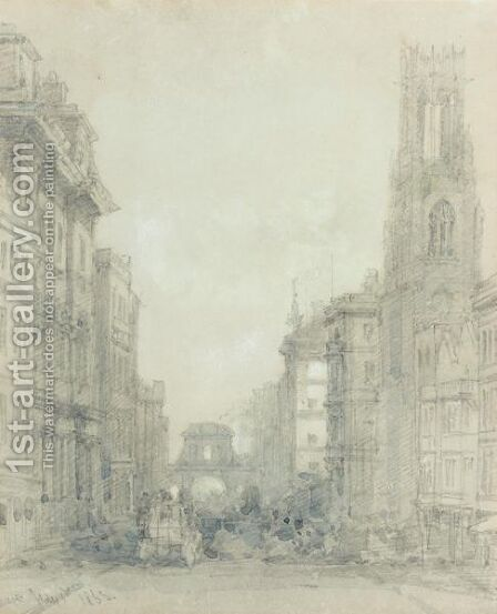 Fleet Street At Temple Bar With The Church Of St.Dunstans-In-The-West by David Roberts - Reproduction Oil Painting