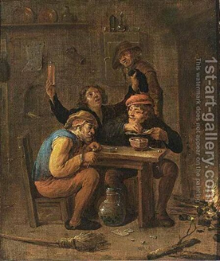 Peasants Smoking And Drinking Near A Fireplace by (after)  David The Younger Teniers - Reproduction Oil Painting