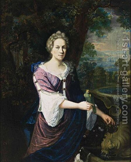 A Portrait Of A Lady, Standing Three-Quarter Lenght Near A Fountain, Wearing A Purple Dress With White Undergarment And A Blue Shawl, Holding A Parrot On Her Right Hand, A Dog In The Foreground by Barend Van Kalraet - Reproduction Oil Painting