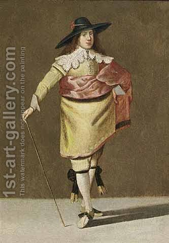 A Portrait Of A Gentleman, Standing Full Lenght, Wearing A Yellow Suit With Lace Collar And Cuffs And A Red Cloak, Holding A Stick In His Right Hand by (after) Pieter Jansz. Quast - Reproduction Oil Painting
