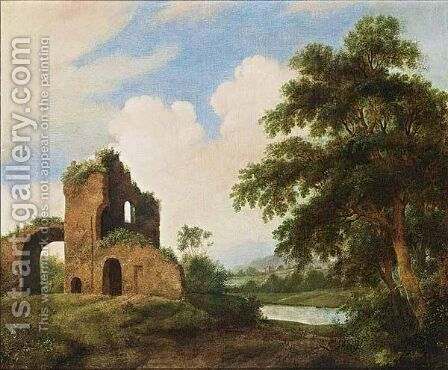 A Wooded River Landscape With Ruins by Dutch School - Reproduction Oil Painting